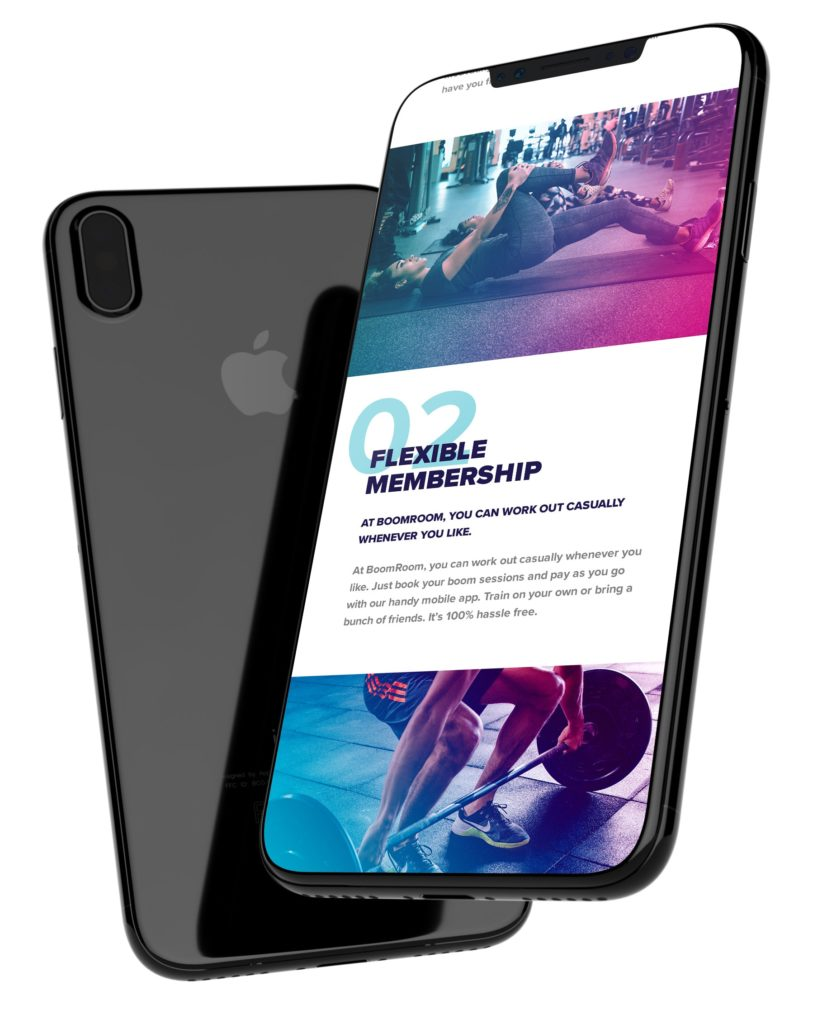 Iphone X Home page of the Boom Room website on Iphone x, showing flexible membership as well as images of the gym and working out